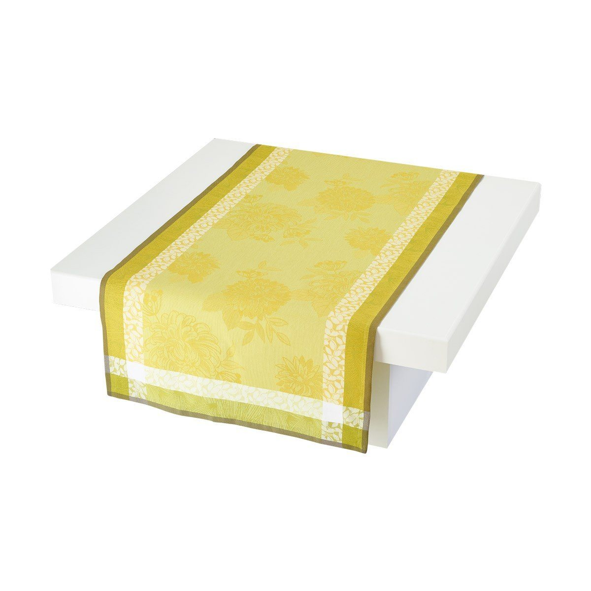 Le Jacquard Français Table Linen Parfums De Bagatelle Fig Linens Freesia Green Yellow Runner