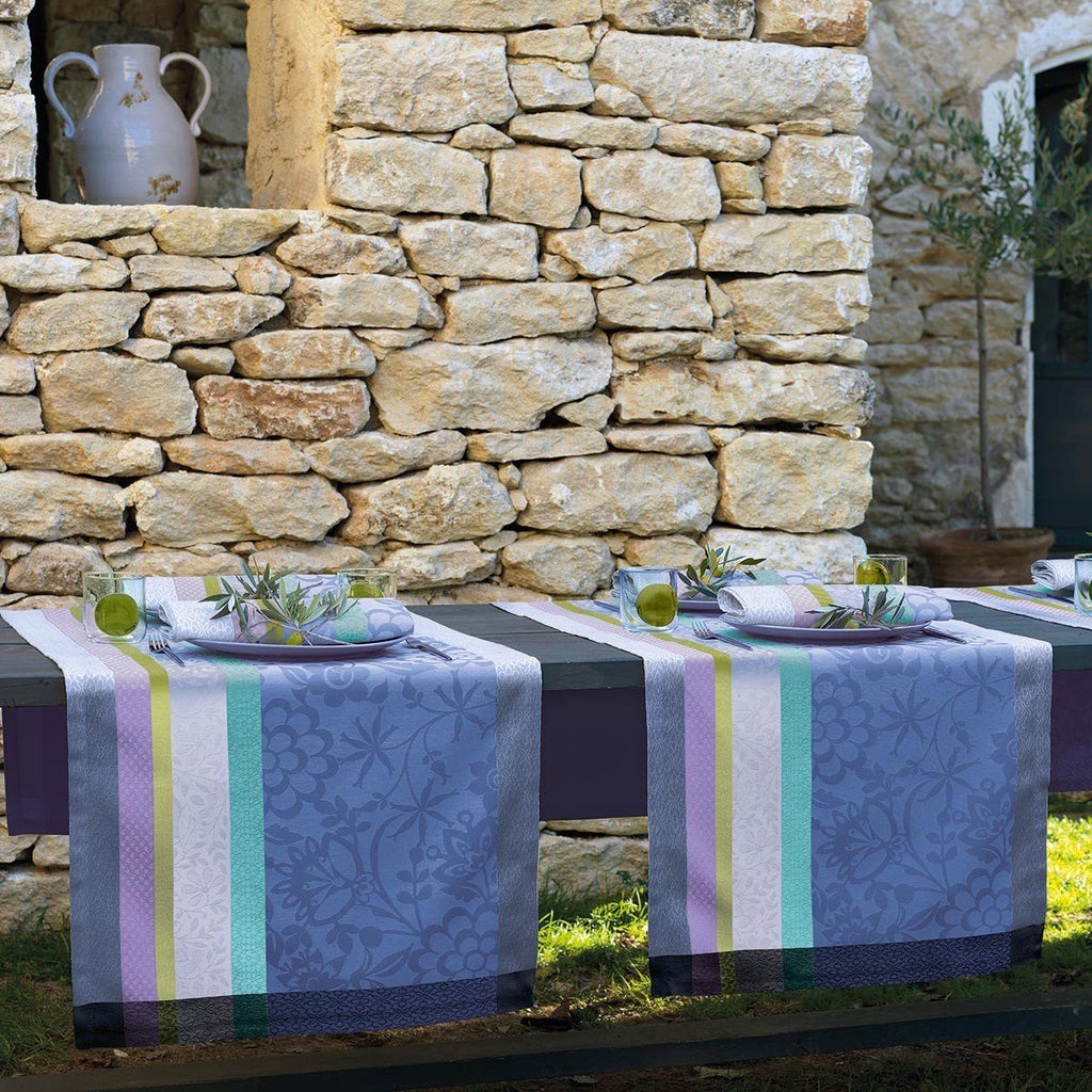 Le Jacquard Français Table Linen Lavender Blue Fig Linens runner