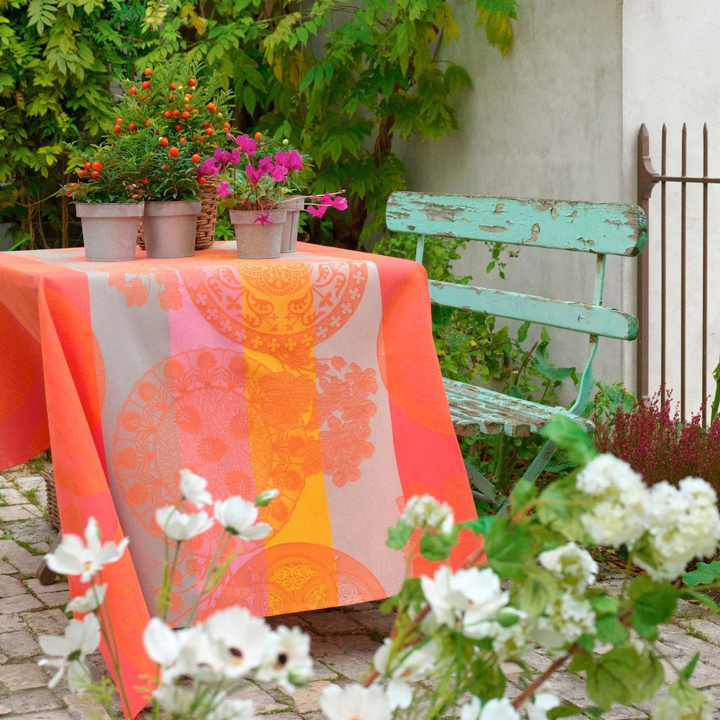 Le Jacquard Français Table Linen Fleurs Gourmandes Peach Fig Linens