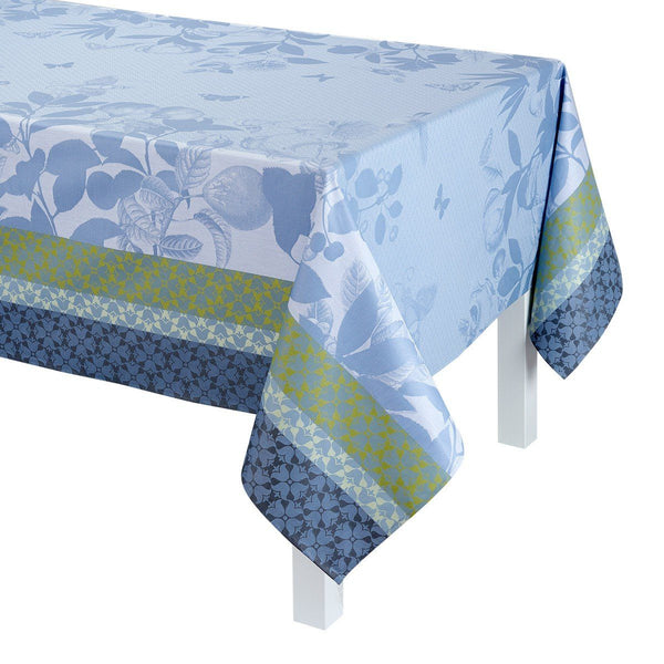 Le Jacquard Français Table Linen Jardin de Paradis Fig Linens light blue green Tablecloth