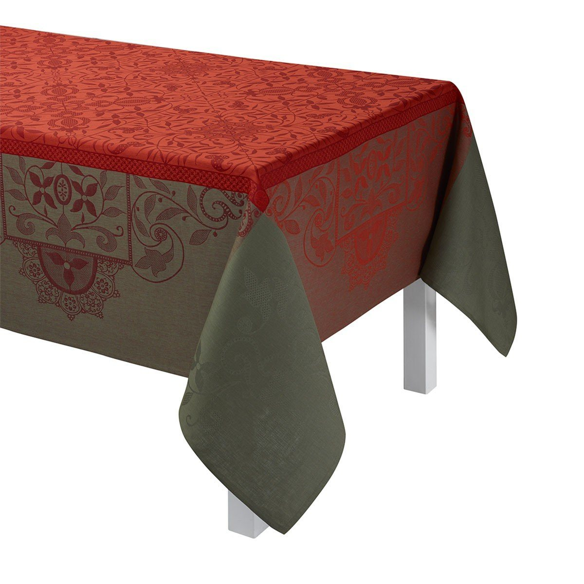 Le Jacquard Français Table Linen Venezia in Cornelian Fig Linens Orange Tablecloth