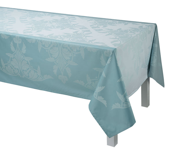 Le Jacquard Français Coated Table Linen Syracuse Enduit  Fig Linens Aqua Blue Tablecloth