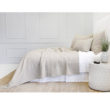Fig Linens - Pom Pom at Home Bedding - Flax quilted coverlet and shams