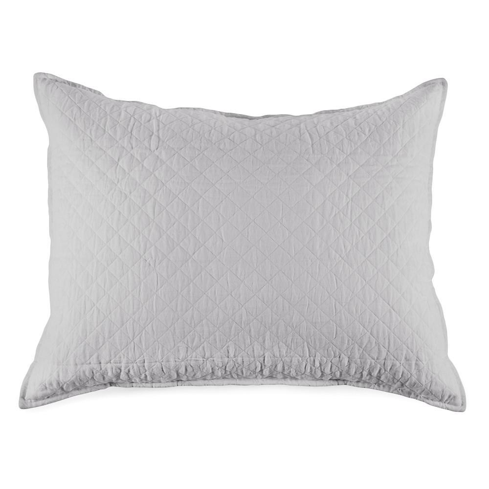 Fig Linens - Pom Pom at Home Bedding - Hampton Silver quilted big pillow with insert