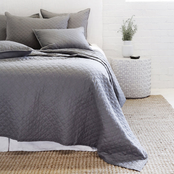 Pom Pom at Home - Hampton Midnight Black Coverlet and Sham Collection -  Fig Linens