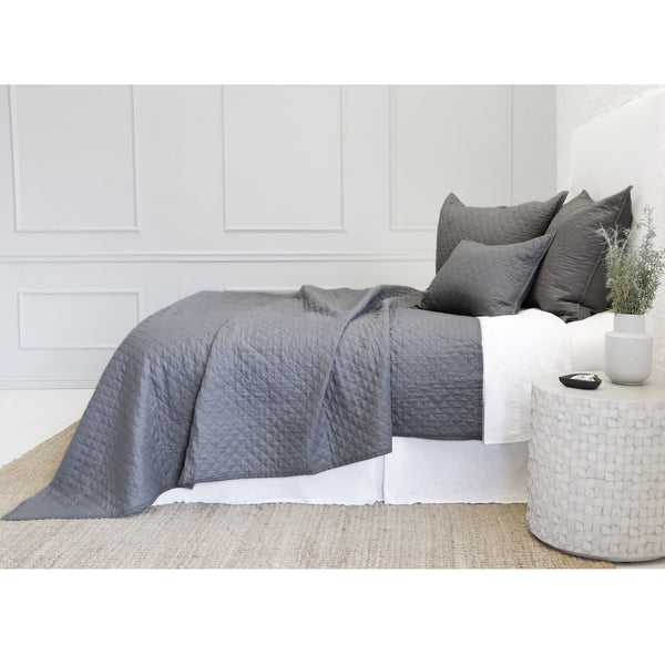 Fig Linens -  Pom Pom at Home Bedding - Hampton Midnight Black quilted coverlet