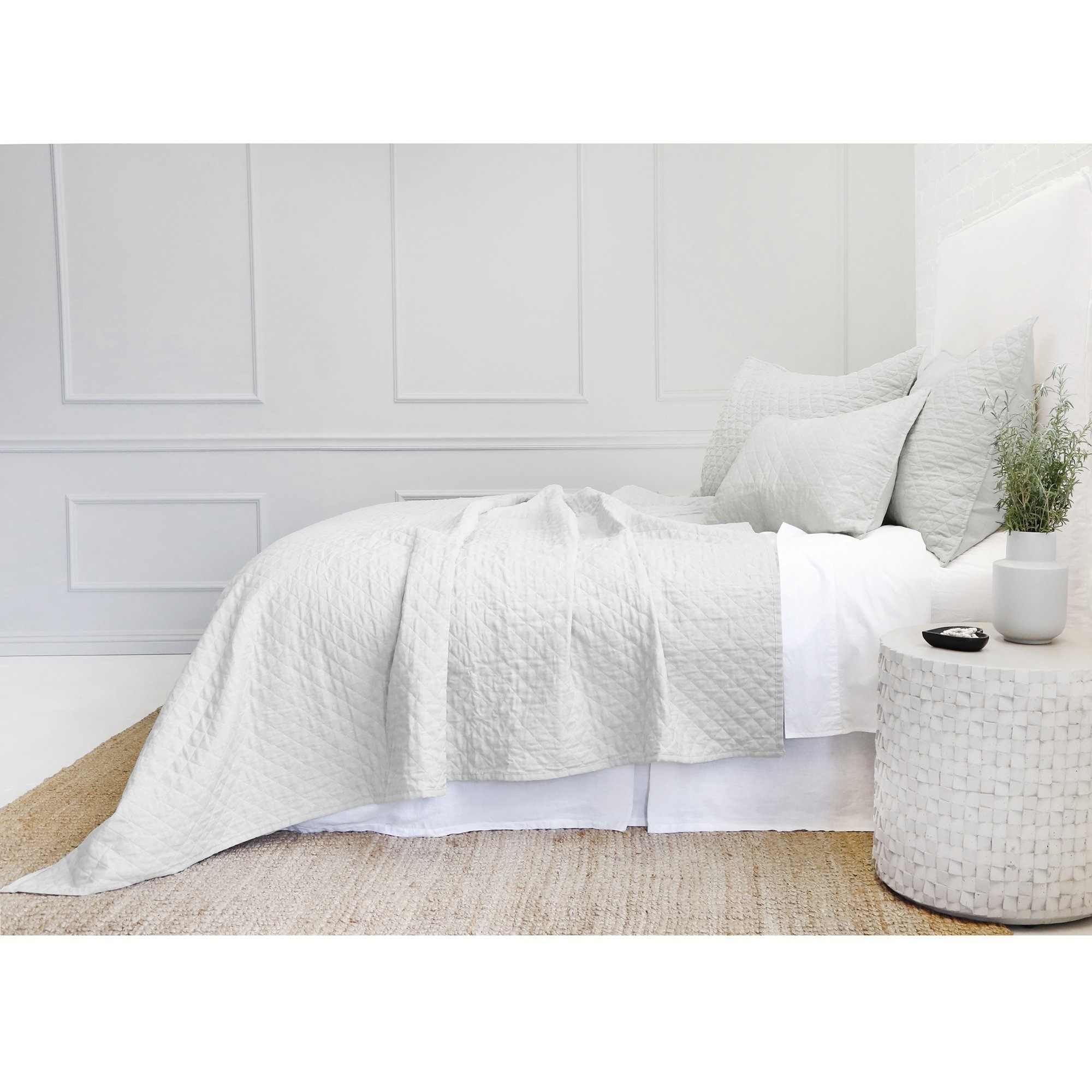 Fig Linens - Pom Pom at Home Bedding - Hampton Silver quilted coverlet and shams