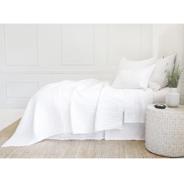 Fig Linens - Pom Pom at Home Bedding - Hampton White quilted coverlet and shams