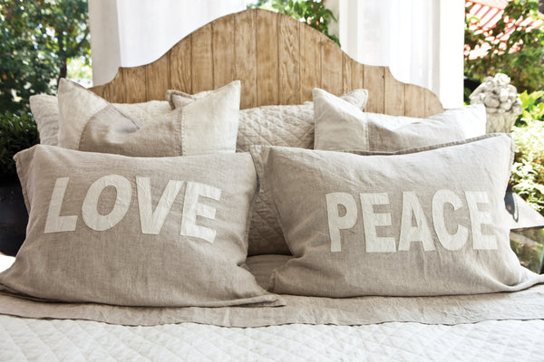 Pom Pom at Home - Love pillow, peace pillow - fig linens