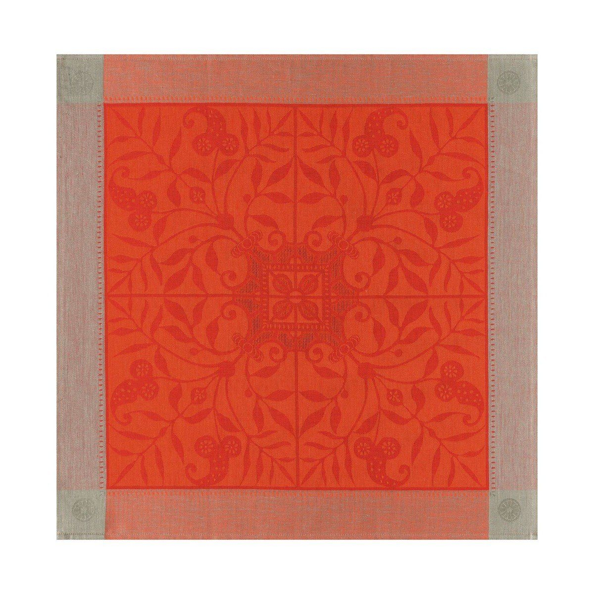 Le Jacquard Français Table Linen Venezia in Cornelian Fig Linens Orange napkin