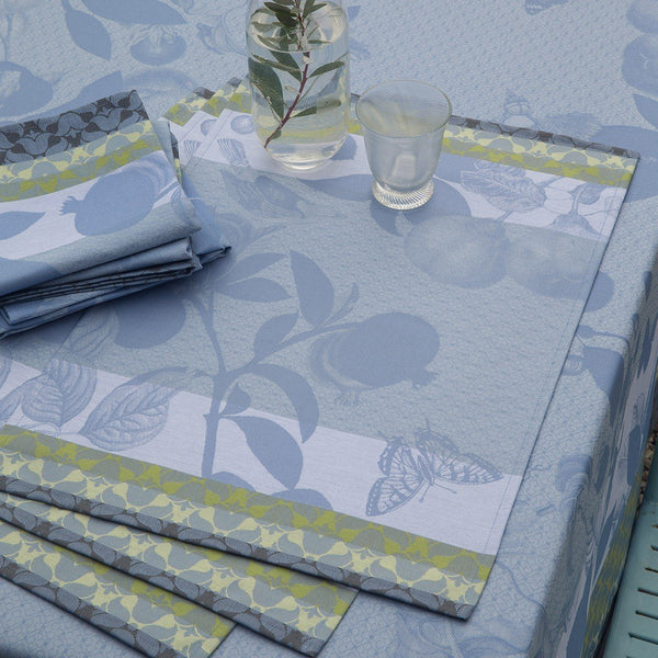 Le Jacquard Français Table Linen Jardin de Paradis Fig Linens light blue green