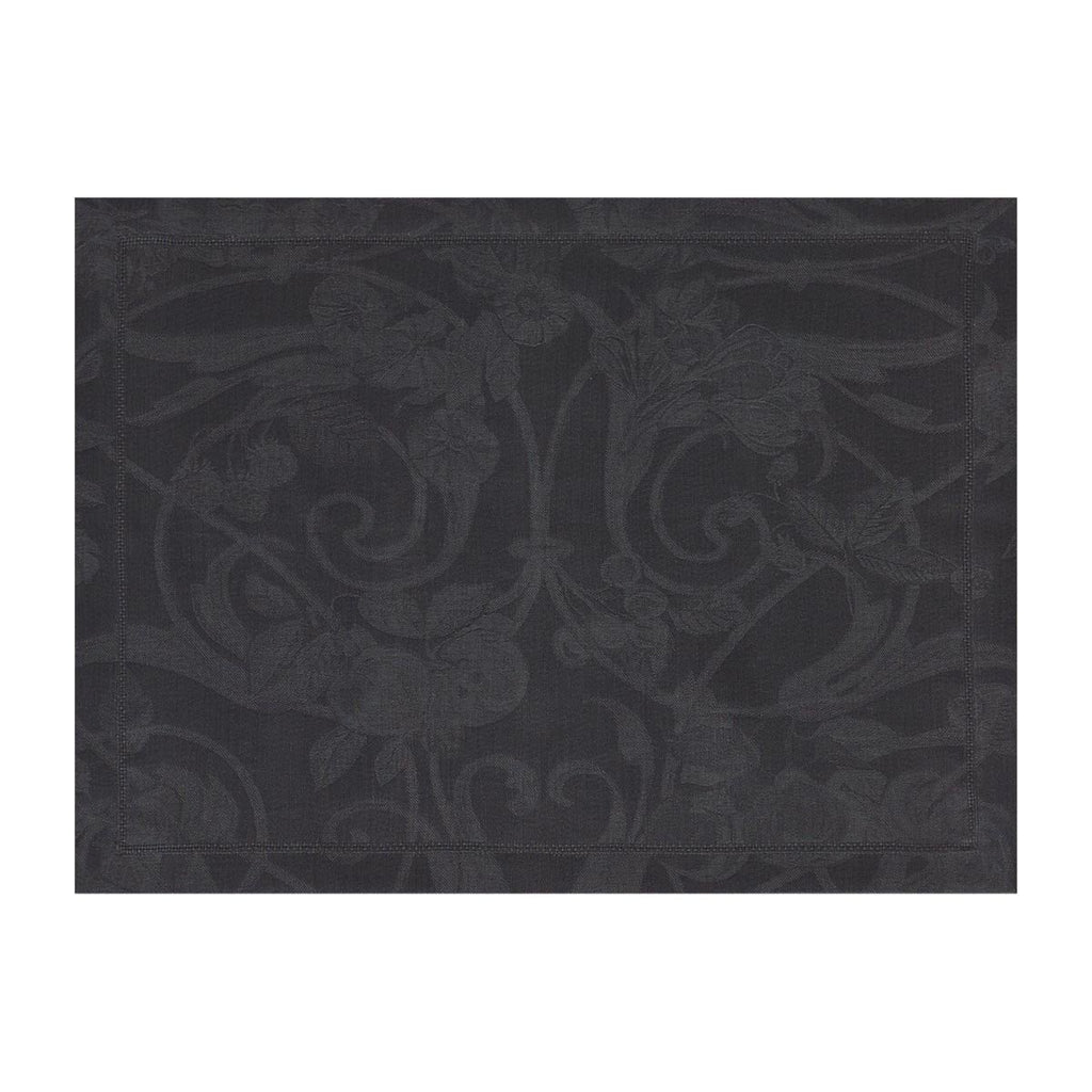 Le Jacquard Français Table Linen Tivoli in Onyx Fig Linens black placemat