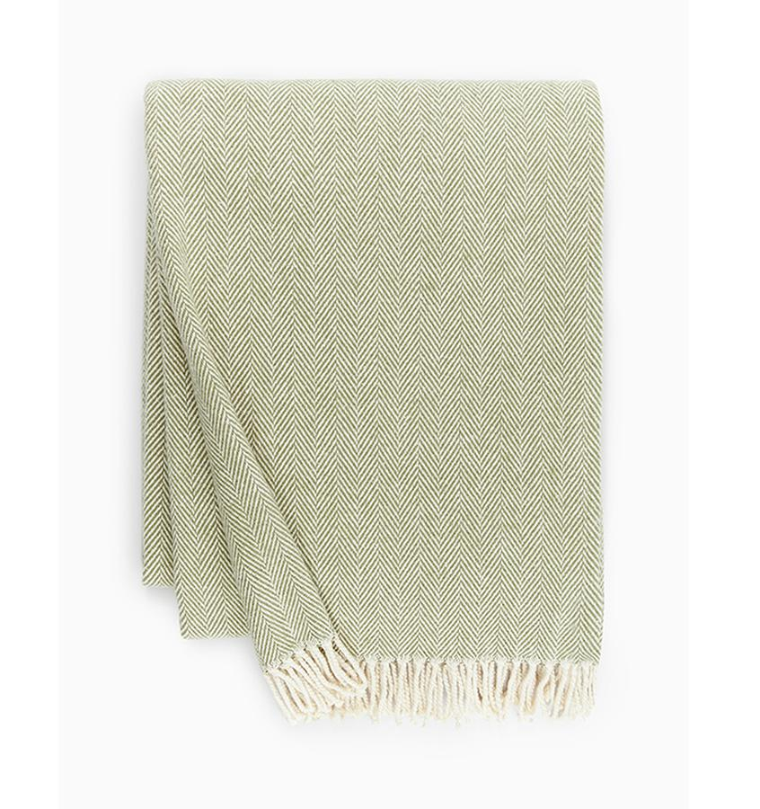 Fig Linens - Sferra Celine moss green throw blanket