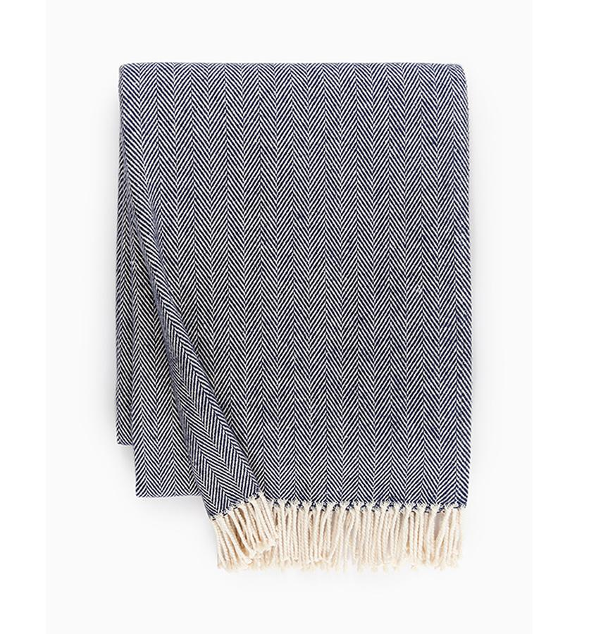 Fig Linens - Sferra Celine navy blue throw blanket