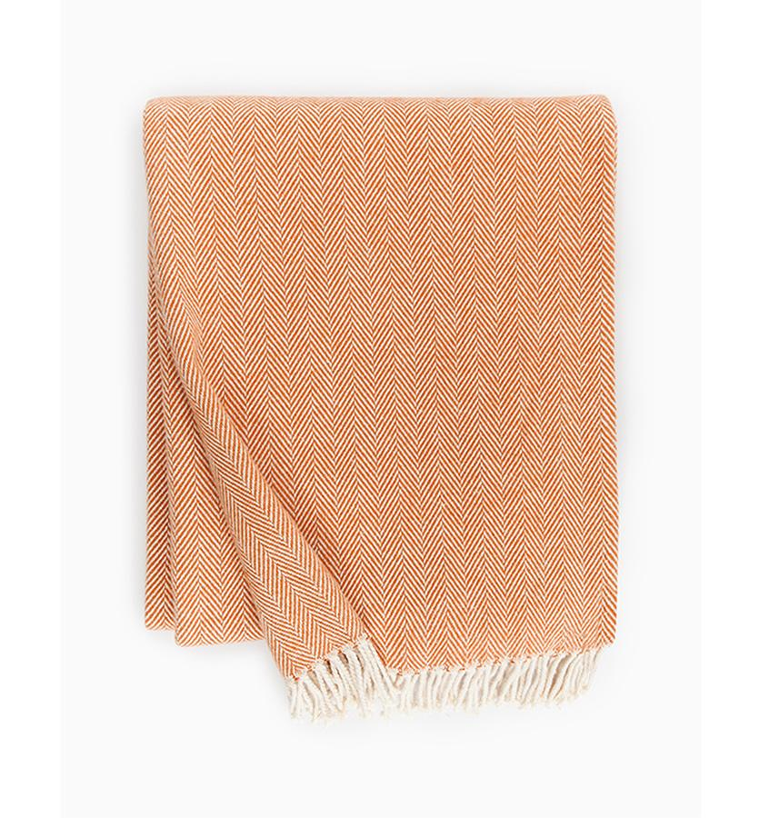 Fig Linens - Sferra Celine paprika orange throw blanket