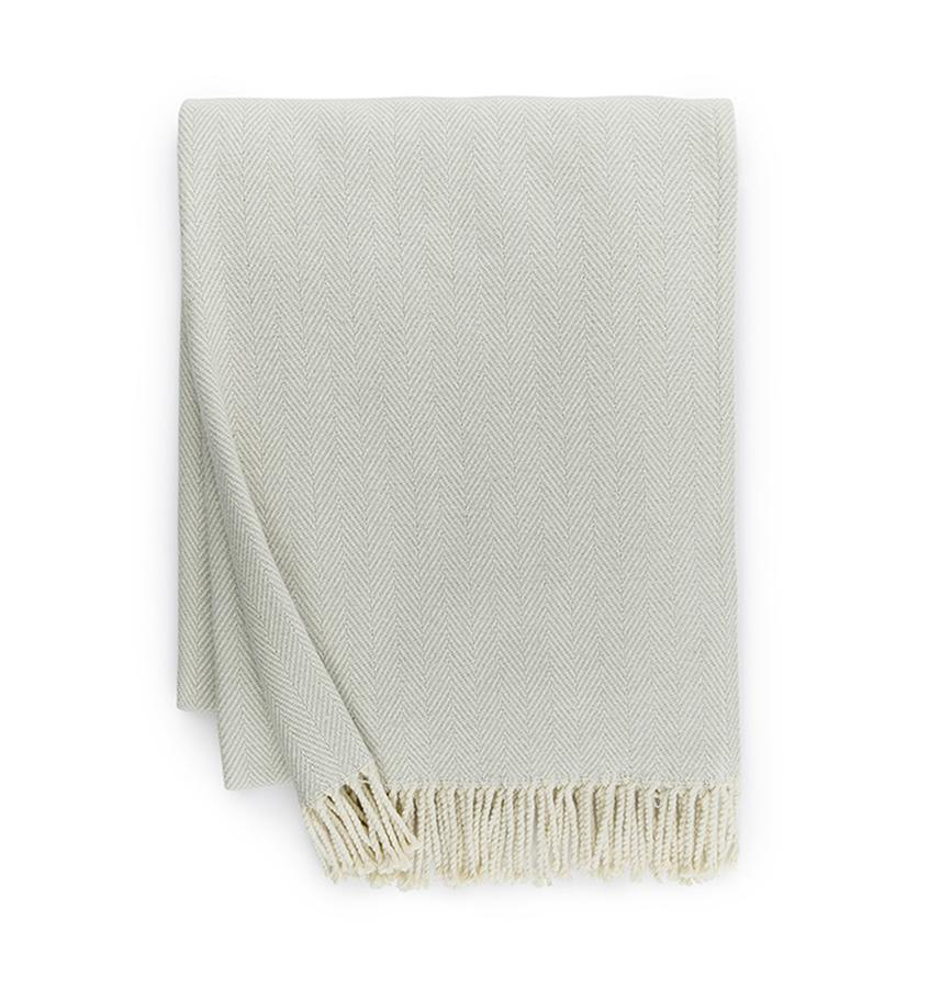 Fig Linens - Sferra Celine silver sage throw blanket
