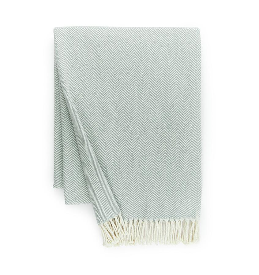 Fig Linens - Sferra Celine slate blue throw blanket