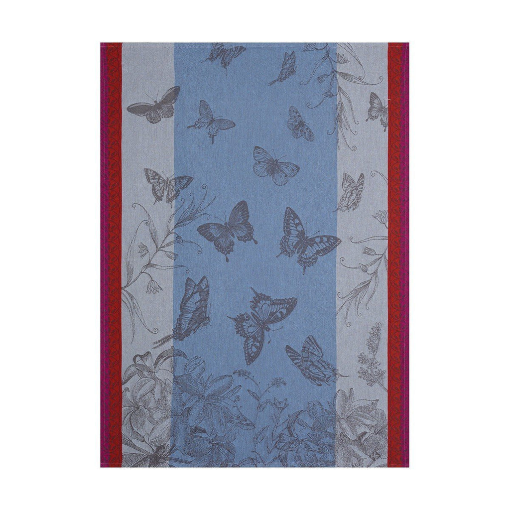 Le Jacquard Français Jardin Des Papillons Kitchen Tea Towels Fig Linens blue red