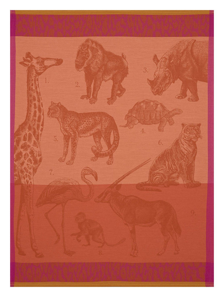 Safari Tea Towels Set of 4 by Le Jacquard Français Fig Linens African animals orange