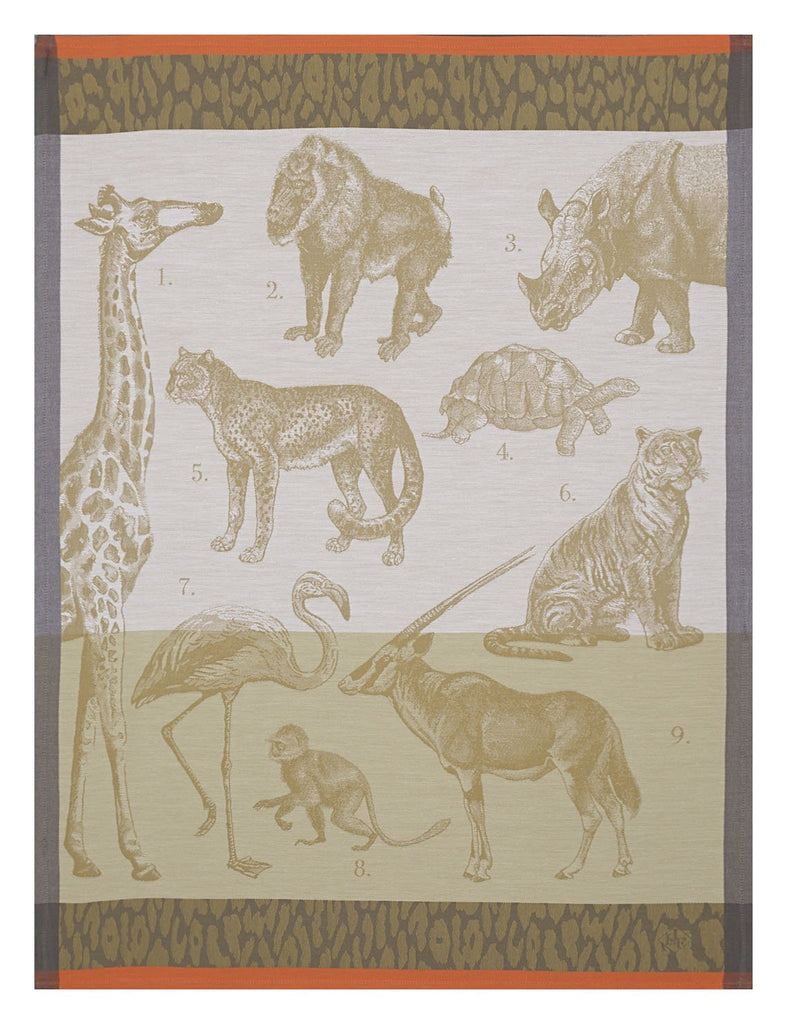 Safari Tea Towels Set of 4 by Le Jacquard Français Fig Linens African animals