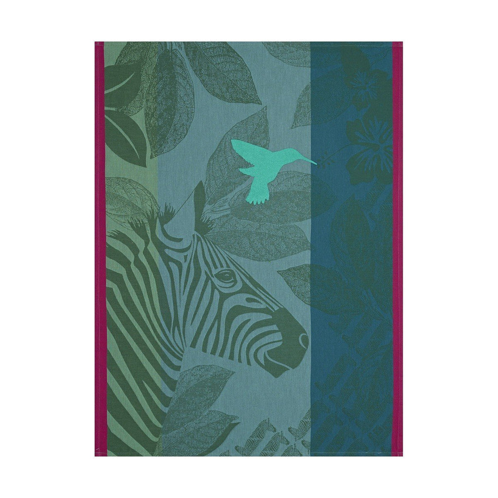 Zebra Tea Towels Set of 4 by Le Jacquard Français Fig Linens green