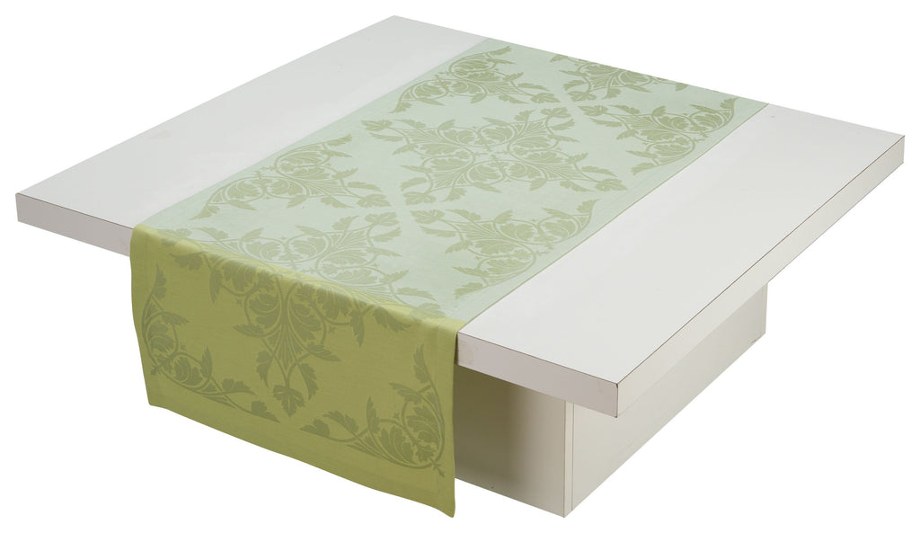 Le Jacquard Français Table Linen Syracuse Green Fig Linens runner