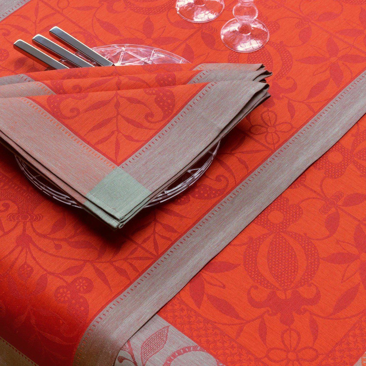 Le Jacquard Français Table Linen Venezia in Cornelian Fig Linens Orange Tablecloth placemat napkin
