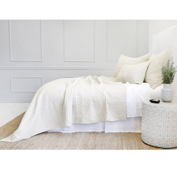 Fig Linens - Pom Pom at Home Hampton Bedding - Cream quilted coverlet