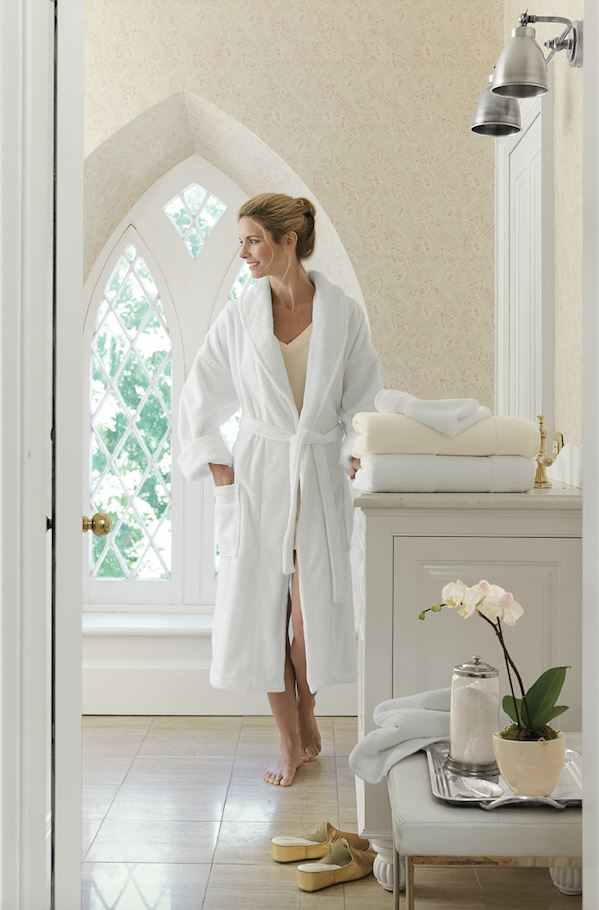 Antalya White Terry Bath Robe by Scandia Home | Fig Linens