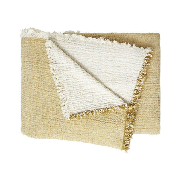 Minorque Citron Yellow Throw with Fringe by Iosis | Fig Linens
