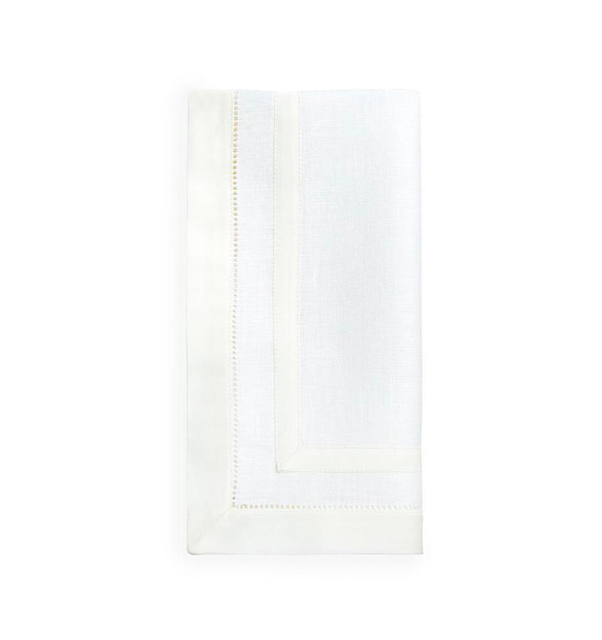 Fig Linens - Tipton White and Ivory Napkin  by Sferra