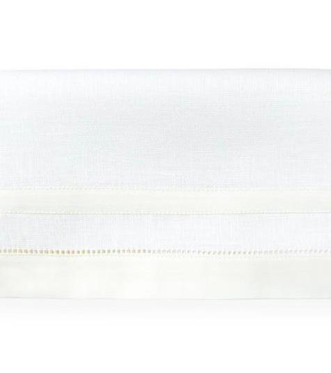 Fig Linens - Tipton White and Ivory Tablecloth by Sferra