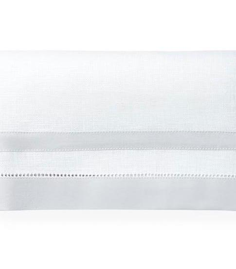 Fig Linens - Tipton White and Lunar Tablecloth by Sferra