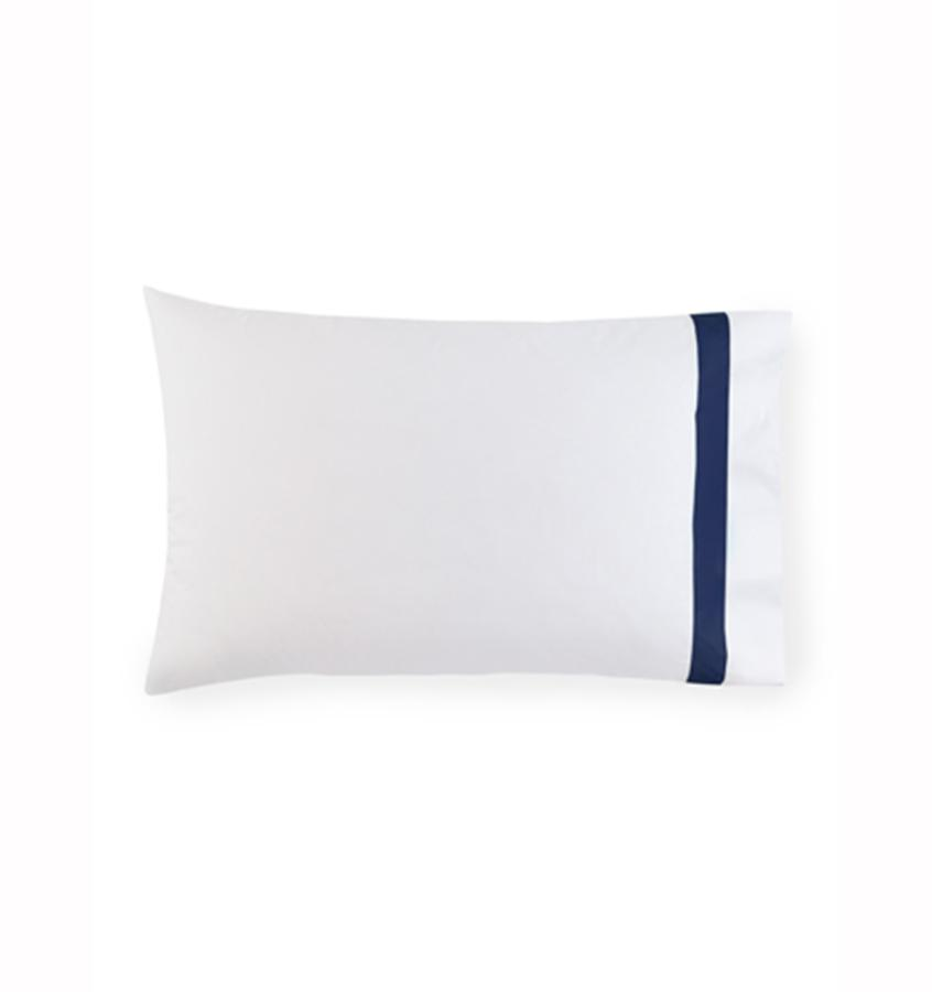 Fig Linens - Orlo Bedding by Sferra - White, navy pillowcase