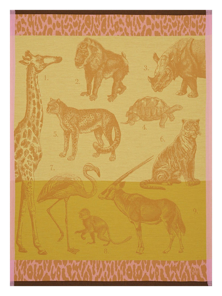Safari Tea Towels Set of 4 by Le Jacquard Français Fig Linens African animals yellow
