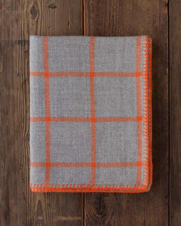 Graydon Alpaca Throw in Light Grey and Orange by Alicia Adams