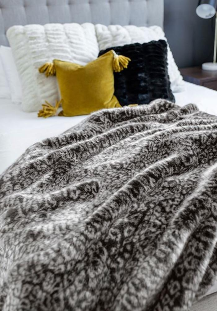 Couture Collection Faux Fur | Grey Cheetah Throw from Fabulous Furs