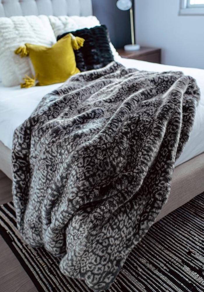 Grey Cheetah Faux Fur Throw | Fabulous Furs Couture