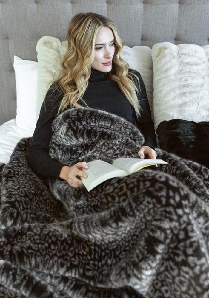 Grey Cheetah Faux Fur Throw on Bed | Couture Collection at Fig linens