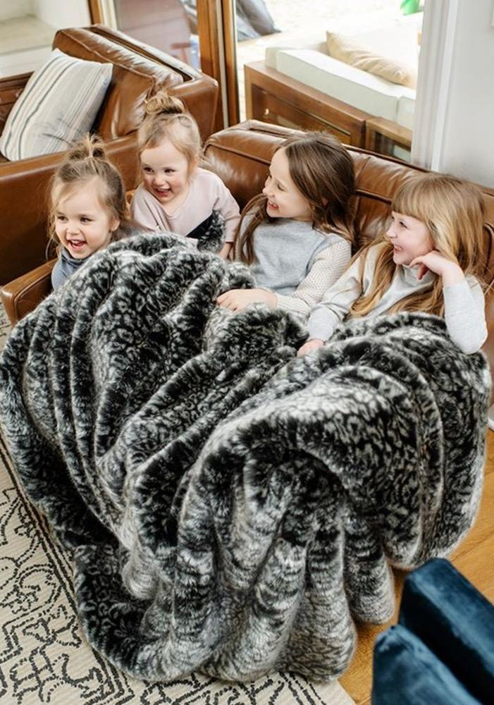 Grey Cheetah Faux Fur Throw Blanket