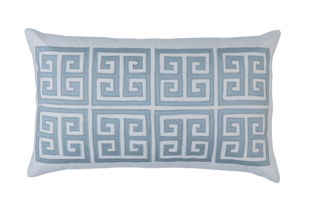 Guy Blue Silk Rectangle Border Pillow by Lili Alessandra