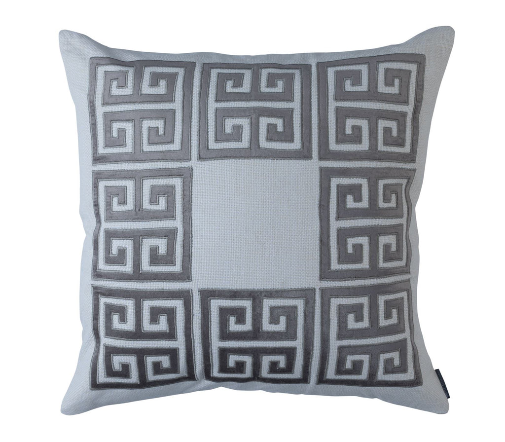 Guy Platinum Velvet Square Border Pillow by Lili Alessandra