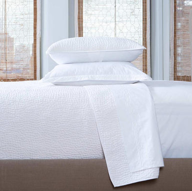 John Robshaw Hand Stitched Quilted White Coverlet & Shams