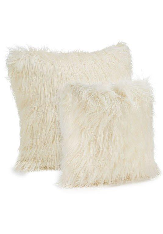 Ivory Tibetan Lamb Faux Fur Pillows by Fabulous Furs