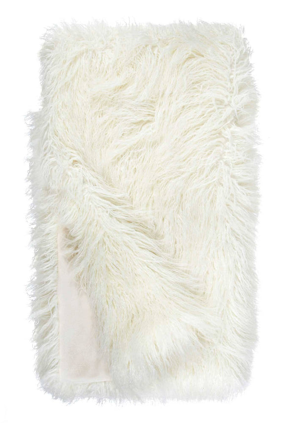 Ivory Tibetan Lamb Signature Series Faux Fur Throw Blanket by Fabulous Furs