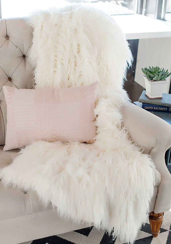 Ivory Tibetan Lamb Signature Series Faux Fur Throw Blanket by Fabulous Furs Detail
