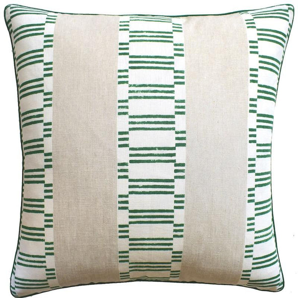 Japonic Stripe Emerald Green Throw Pillow | Ryan Studio at Fig Linens