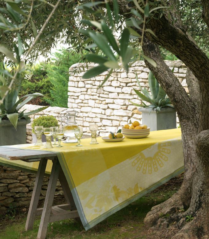 Le Jacquard Français Table Linen Jardin D'Orient Yellow Fig Linens Tablecloth