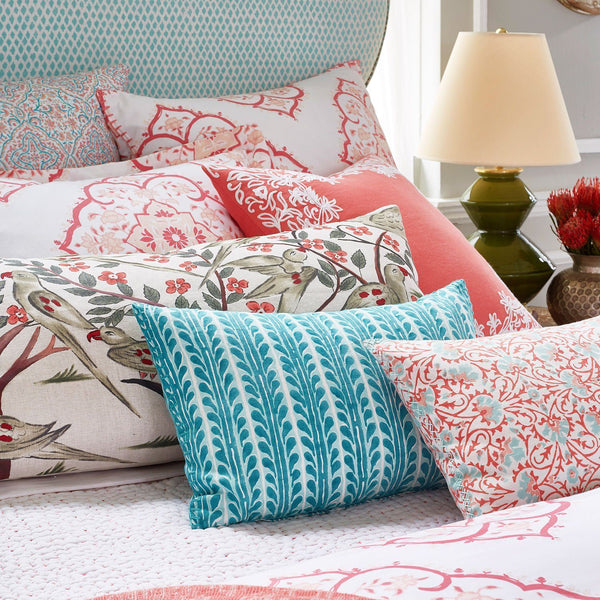John Robshaw Torana Coral Lumbar Pillow - Fig Linens - on bed