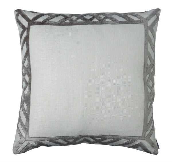 Karl Ivory Platinum Basketweave Euro Pillow Lili Alessandra